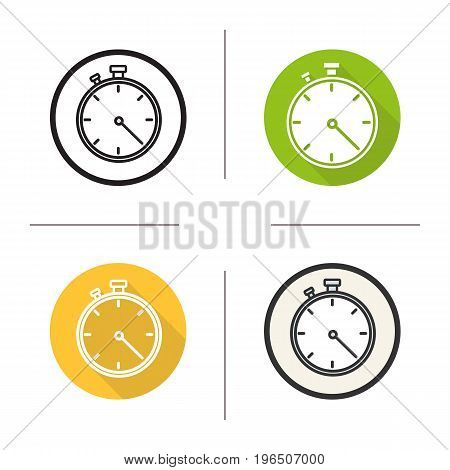 Stopwatch icon. Flat design, linear and color styles. Timer. Isolated vector illustrations