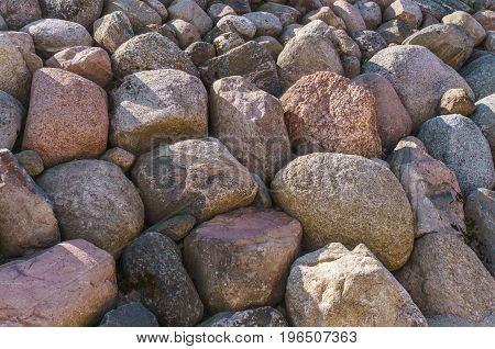 Scenery of stones in Koknese in the park Garden of Destinies in Latvia. July 2017.