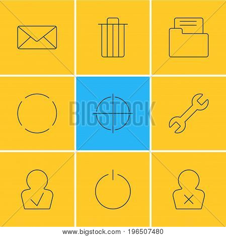 Editable Pack Of Switch Off, Garbage, Envelope And Other Elements. Vector Illustration Of 9 Interface Icons.