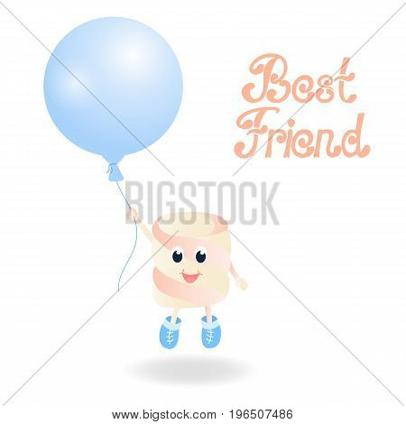 A Marshmallow is holding a balloon. Best friend hand lettering. Greeting card for the day of Friendship