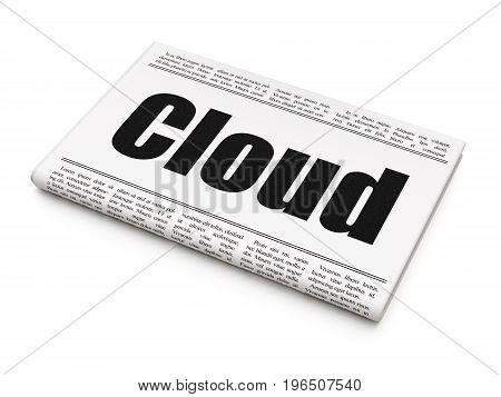 Cloud technology concept: newspaper headline Cloud on White background, 3D rendering