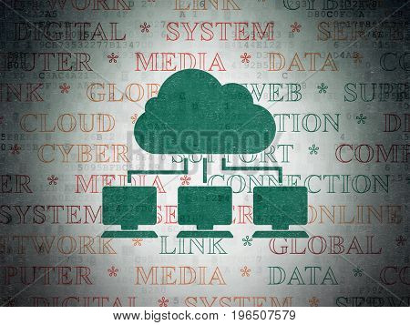 Cloud networking concept: Painted green Cloud Network icon on Digital Data Paper background with  Tag Cloud