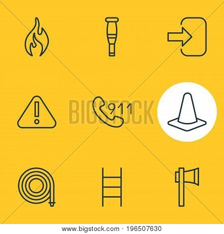 Vector Illustration Of 9 Extra Icons. Editable Pack Of Hotline, Burn, Exclamation And Other Elements.
