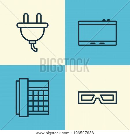 Hardware Icons Set. Collection Of Socket, Gadget, Work Phone And Other Elements