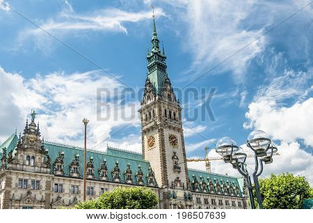 Hamburg city with it's city hall in Germany