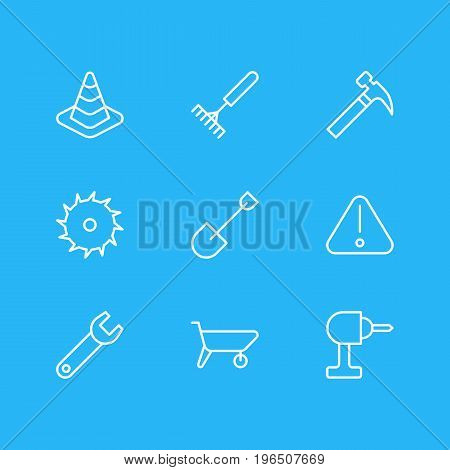 Editable Pack Of Handle Hit, Circle Blade, Electric Screwdriver Elements. Vector Illustration Of 9 Construction Icons.