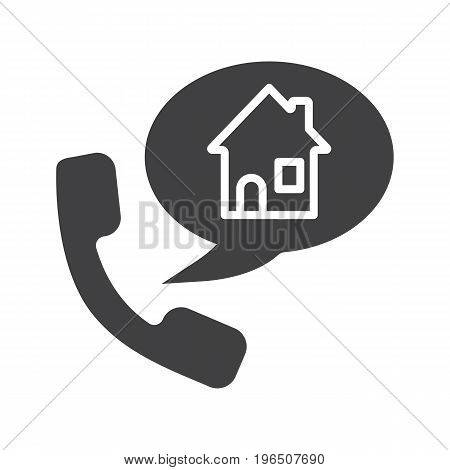 Phone rental house reserve glyph icon. Room reservation. Silhouette symbol. Handset with home inside speech bubble. Negative space. Vector isolated illustration