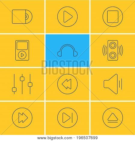 Editable Pack Of Amplifier, Advanced, Reversing And Other Elements. Vector Illustration Of 12 Melody Icons.