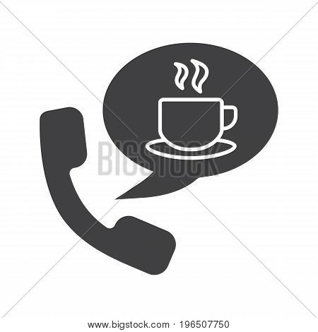 Hot drinks phone order glyph icon. Silhouette symbol. Handset with tea cup inside speech bubble. Negative space. Vector isolated illustration