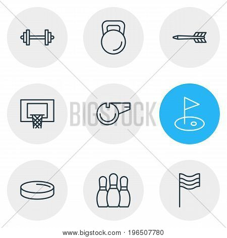 Vector Illustration Of 9 Athletic Icons. Editable Pack Of Golf, Puck, Bowling And Other Elements.