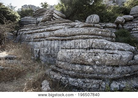 Karstic rock formations at Torcal de Antequera National Park Malaga Spain