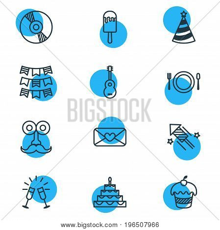 Vector Illustration Of 12 Party Icons. Editable Pack Of Patisserie, Compact Disk, Goblet And Other Elements.
