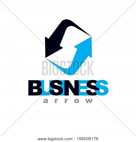 Business innovation logo isolated on white background. Vector boost up arrow graphic design element. Company increasing concept.