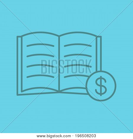 Buy book color linear icon. Bookstore. Textbook with dollar sign. Thin line outline symbols on color background. Vector illustration