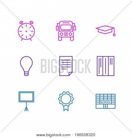 Vector Illustration Of 9 Studies Icons. Editable Pack Of Trophy, Paper, Bookshelf And Other Elements.
