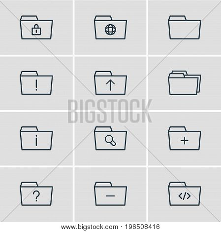 Vector Illustration Of 12 Dossier Icons. Editable Pack Of Important, Folders, Minus And Other Elements.