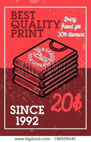 Color vintage silkskreen print banner. Vector illustration, EPS 10