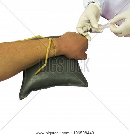 pierce arm vein for Annual Health Check up on white background