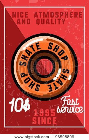 Color vintage skate shop banner. Skate themed design elements for your project. Stock vector.