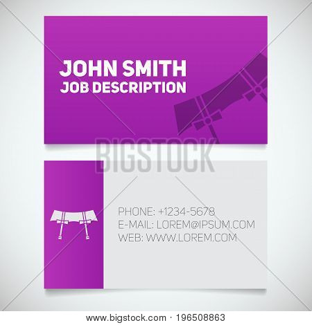 Business card print template with garters logo. Women's underwear shop. Stationery design concept. Vector illustration