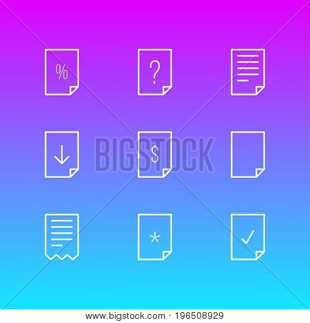 Editable Pack Of Document, Upload, Dollar And Other Elements. Vector Illustration Of 9 Document Icons.