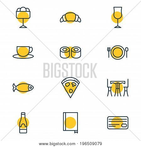 Vector Illustration Of 12 Eating Icons. Editable Pack Of Pepperoni, Seafood, Sundae And Other Elements.
