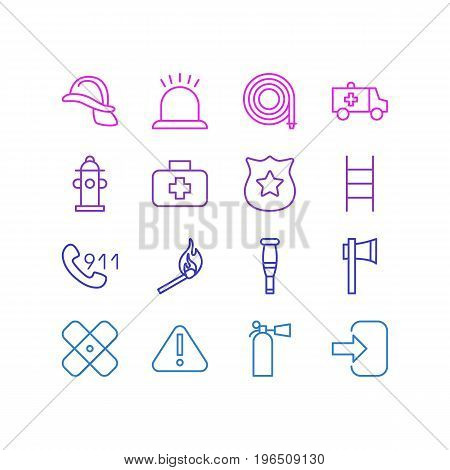Editable Pack Of Safety, Alarm, First-Aid And Other Elements. Vector Illustration Of 16 Necessity Icons.