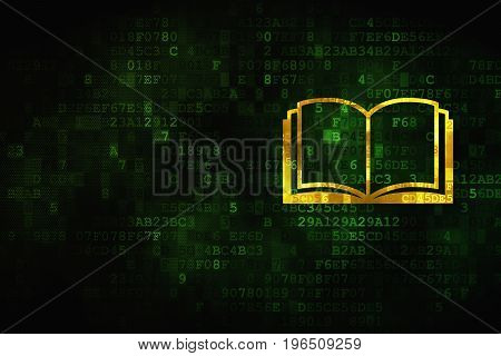 Studying concept: pixelated Book icon on digital background, empty copyspace for card, text, advertising