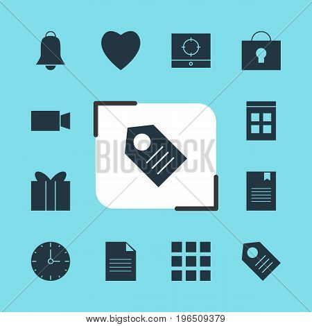 Vector Illustration Of 12 Web Icons. Editable Pack Of Target Scope, Notification, Clock And Other Elements.