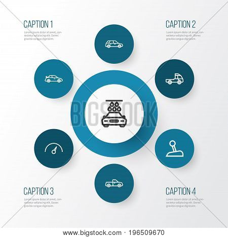Car Outline Icons Set. Collection Of Hatchback, Chronometer, Crossover And Other Elements