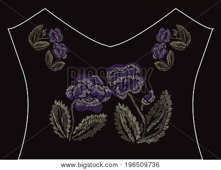 Elegant embroidery bouquet with pansy flowers design element. Floral composition can be used for fashion decorations fabrics manufacturing. Embroidery decorative flowers