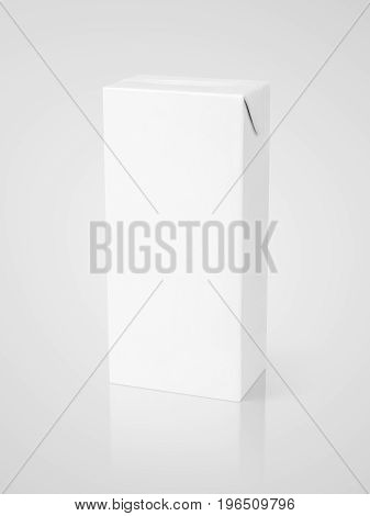 Milk or juice carton package on gray background with clipping path