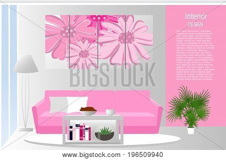 The interior of the living room. Elegant living room in pink color. Room in a modern style. Cartoon. Vector illustration.