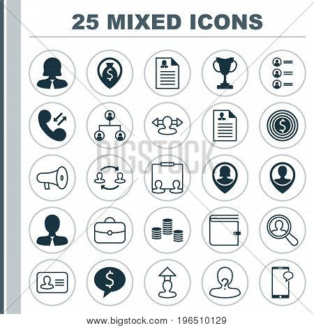 Management Icons Set. Collection Of Navigation, Personal Badge, Manager And Other Elements