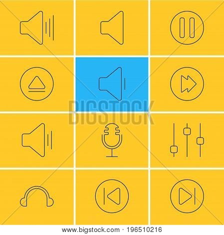 Editable Pack Of Mike, Preceding, Rewind And Other Elements. Vector Illustration Of 12 Melody Icons.