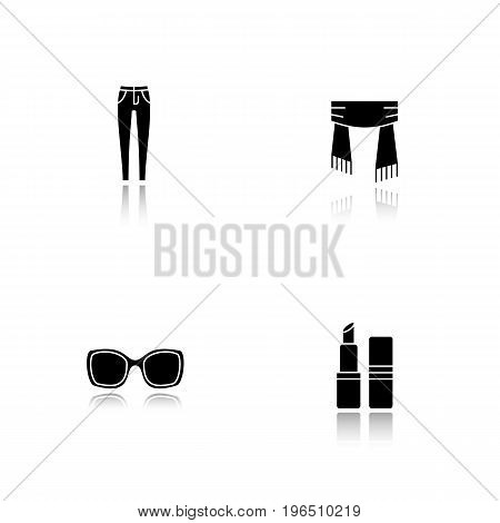 Women's accessories drop shadow black glyph icons set. Skinny jeans, scarf, sunglasses, lipstick. Isolated vector illustrations