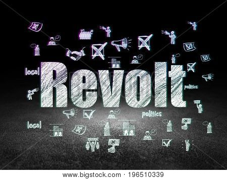 Politics concept: Glowing text Revolt,  Hand Drawn Politics Icons in grunge dark room with Dirty Floor, black background