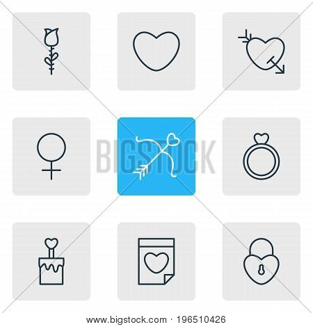Editable Pack Of Engagement, Lock , Candle Elements. Vector Illustration Of 9 Passion Icons.