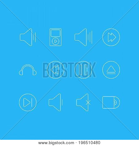 Vector Illustration Of 12 Melody Icons. Editable Pack Of Subsequent, Rewind, Compact Disk And Other Elements.