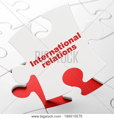 Political concept: International Relations on White puzzle pieces background, 3D rendering