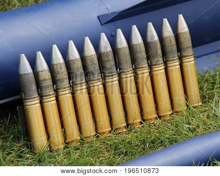 A Row of Heavy Duty Military Ammunition Bullets.