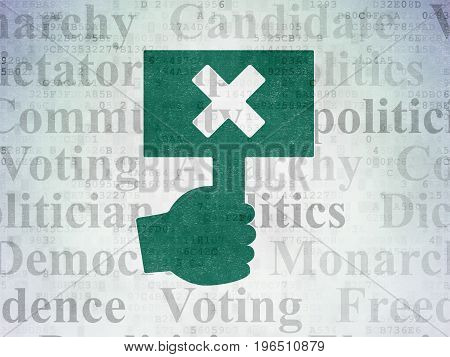 Politics concept: Painted green Protest icon on Digital Data Paper background with  Tag Cloud
