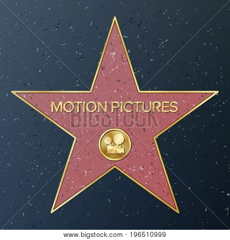 Hollywood Walk Of Fame. Vector Star Illustration. Famous Sidewalk Boulevard. Classic Film Camera Representing Motion Pictures.