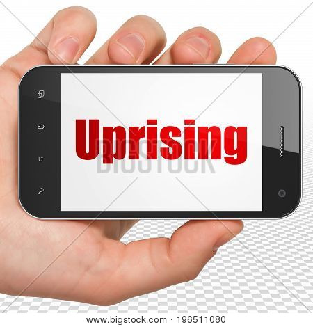 Politics concept: Hand Holding Smartphone with red text Uprising on display, 3D rendering