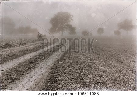 Old Black And White Photo Of Dirt Road In Rural Landscape In Mist.