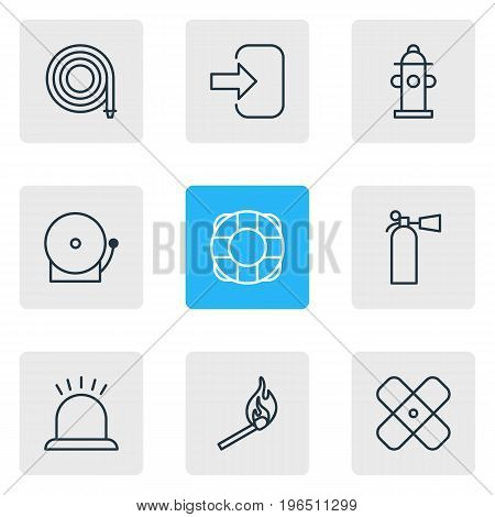 Editable Pack Of Lifesaver, Door, Alarm And Other Elements. Vector Illustration Of 9 Emergency Icons.