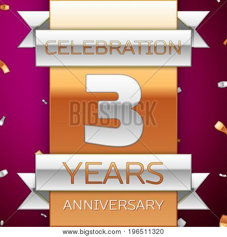 Realistic Three Years Anniversary Celebration Design. Silver and golden ribbon, confetti on purple background. Colorful Vector template elements for your birthday party. Anniversary ribbon
