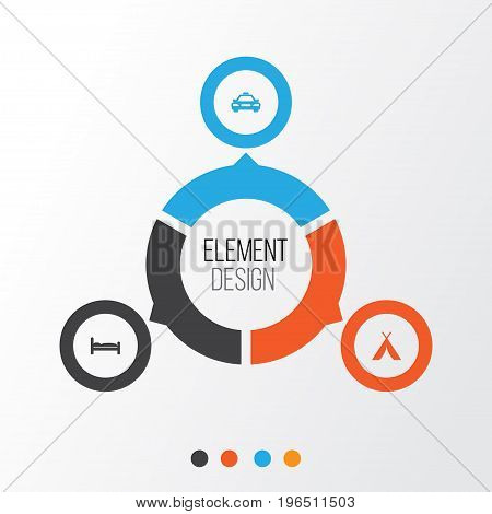 Exploration Icons Set. Collection Of Doss, Car, Booth And Other Elements