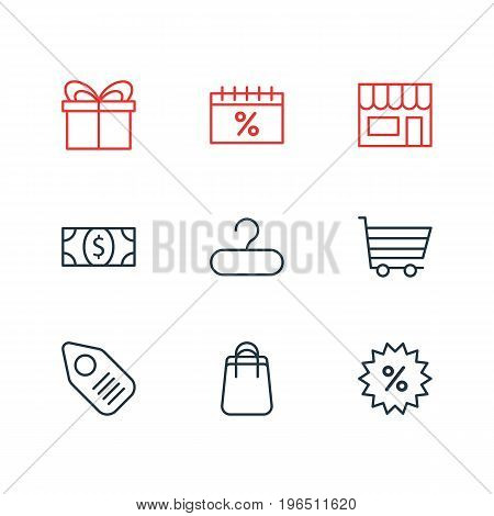 Vector Illustration Of 9 Wholesale Icons. Editable Pack Of Rack, Discount, Present And Other Elements.