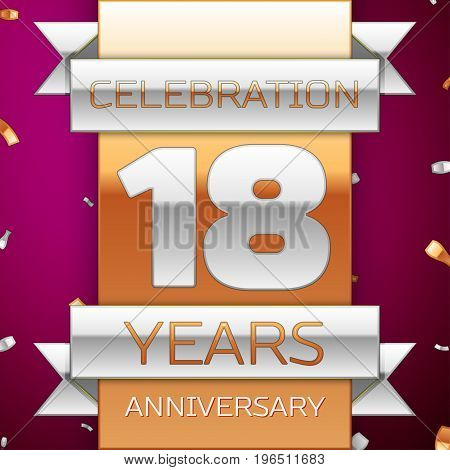Realistic Eighteen Years Anniversary Celebration Design. Silver and golden ribbon, confetti on purple background. Colorful Vector template elements for your birthday party. Anniversary ribbon